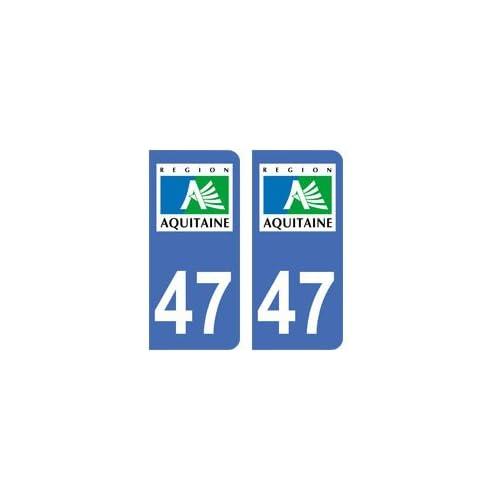2 autocollants 47 Lot et Garonne plaque immatriculation département auto 47 angles arrondis