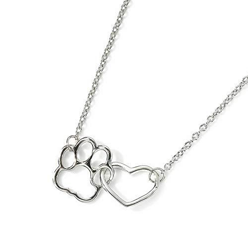 Mikash Fashion Gold Pet Lover Dog Cat Paw Print Pendant Love Heart Chain Necklace | Model NCKLCS - 39934 ()