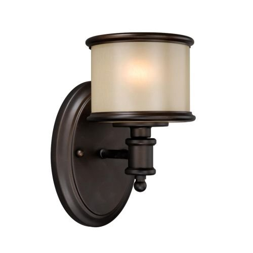 Vaxcel USA CRVLU001NB Carlisle 1 Light Wall Sconce Lighting Fixture in Bronze, Glass