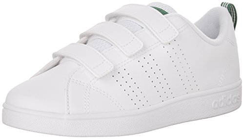 adidas Boys' Vs Advantage Clean CMF C Sneaker, White/White/Green, 11.5 Medium US Little Kid