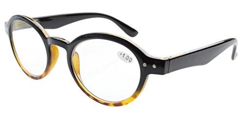 Eyekepper Spring Hinges Round Retro Two Tone Readers Reading Glasses Black Yellow +2.00