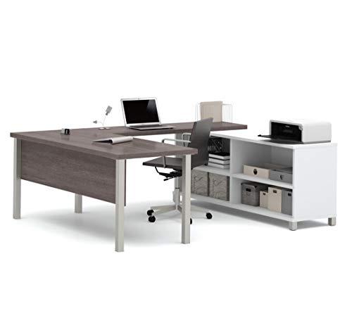 Bestar Pro-Linea U-Desk, White/Bark Grey