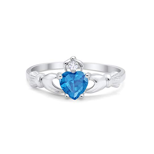 Irish Claddagh Heart Promise Ring Simulated Blue Topaz Round CZ 925 Sterling Silver, ()