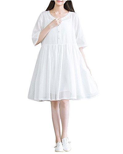 Donna Casual Corta Abito Vestitini Manica Bianco Dianshaoa Lungo donne GMzVpqSU