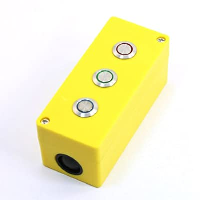 uxcell® SPDT 1NO 1NC Red+Green+Blue Indicator Momentary 3 Metal Button Box