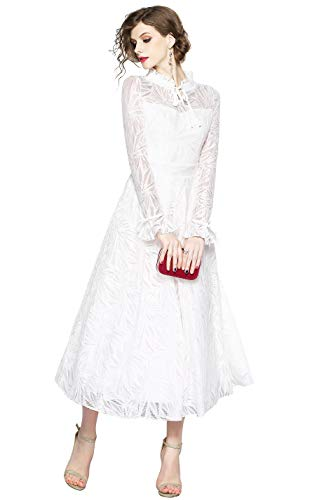 LAI MENG FIVE CATS Women's Elegant V Neck 3/4 Sleeve Floral Lace Wedding Party Swing -