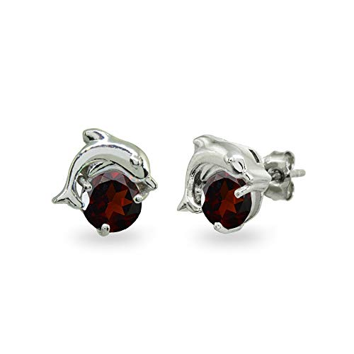 Sterling Silver Garnet Round 5mm Polished Dolphin Stud Earrings for Women Girls