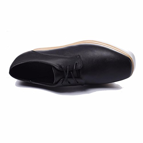 Leather Square Toe Women's Black Wedge Full Oxfords Moonwalker p5IPf