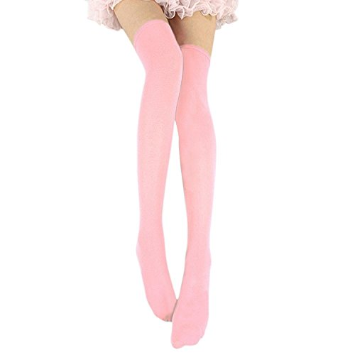 Socks The Knee Over Pink (Lisli Women Girls Over the Knee Socks Thigh High Stockings Long Plain Socks (Pink))