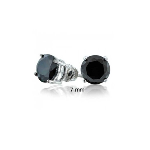 Brilliant Solitaire Round - 1 CT Black Round Solitaire Brilliant Cut CZ Stud Earrings For Women For Men Screwback 925 Sterling Silver