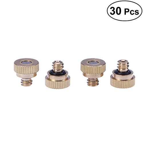 BESTOMZ 30pcs 0.3mm Brass Misting Nozzle Atomizing Spray Mister Nozzle for Outdoor Cooling System
