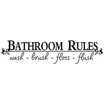Amazon Com Bathroom Rules Wall Decal Wide X High Black Or
