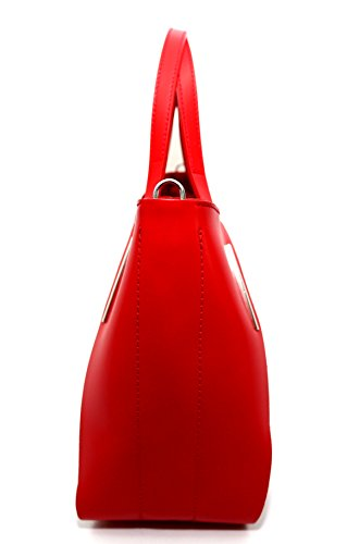 Borsa in pelle e camoscio , Made in Italy ''CREEO'' Rosso Scuro