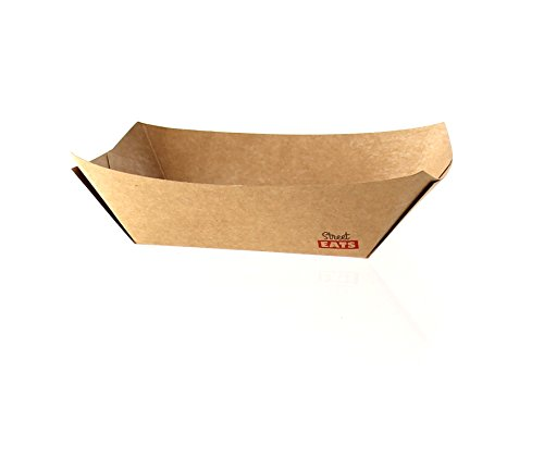 Paper Food Trays Case - Kraft Brown Paper Food Tray Boat (Case of 1000), PacknWood - Party Supplies Snack Trays (10 oz, 6.3