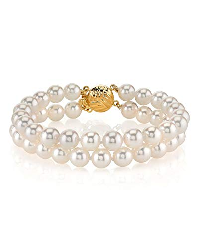 THE PEARL SOURCE 14K Gold 6-6.5mm Round White Double Japanese Akoya Saltwater Cultured Pearl Bracelet for Women ()