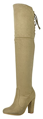 wholesale price excellent cheap price Refresh Footwear Women's Thigh High Over The Knee Lace Up Back Stacked Chunky Heel Boot Taupe clearance explore EtDc1aa4AU