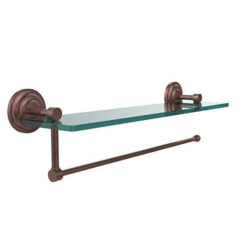 - Allied Brass PQN-1PT/16-CA Prestige Que New Collection Paper Towel Holder with 16 Inch Glass Shelf, Antique Copper