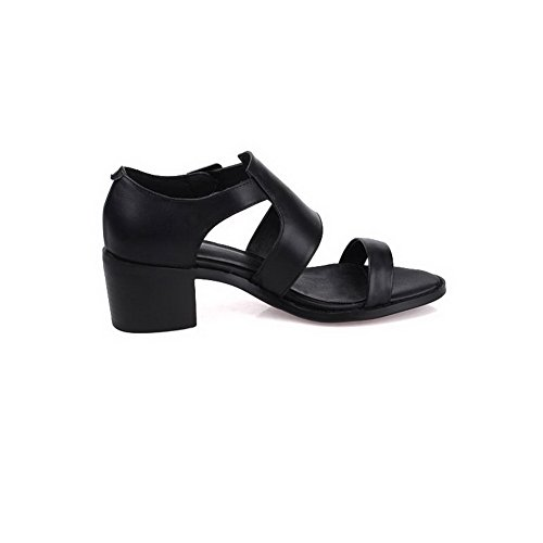 VogueZone009 Women's Kitten-Heels Soft Material Solid Zipper Peep Toe Sandals Black dALUSe