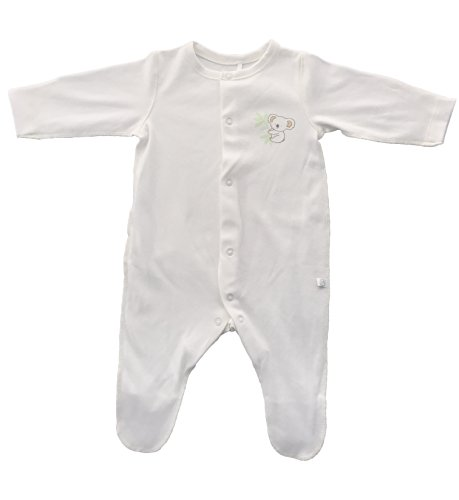 BEMBIBABY Longsleeve ORGANIC cotton Unisex-baby Footed Pajama with Inverted Seams (Newborn, Off white)
