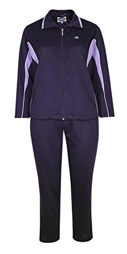 Damen Baumwoll Freizeit- Sportanzug Jogginganzug in fünf schönen Farbtönen-Dark-Violet-L