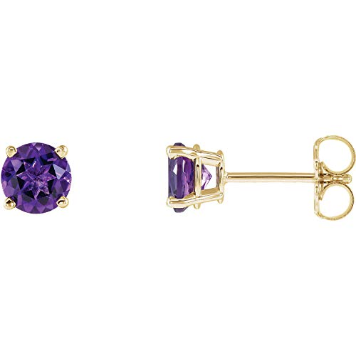 - Amethyst February Birthstone Round 4-Prong Stud Earrings in 14k Yellow Gold -0.20 inch stone
