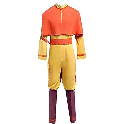 Adult Mens Aang Cosplay Costume Uniform Suit Halloween (M) Orange -