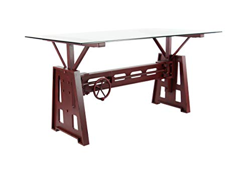 Deco 79 42926 Industrial Wood, Metal and Glass Dining Table, 32