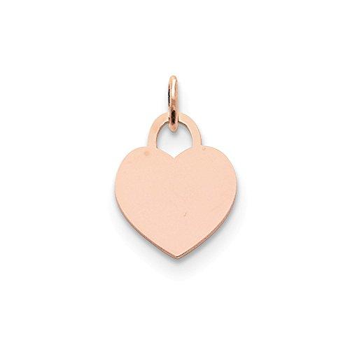 (Best Designer Jewelry 14k Rose Gold Medium Engraveable Heart Charm)