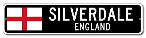 England Flag Sign - SILVERDALE, ENGLAND - Custom City Flag Sign - 6