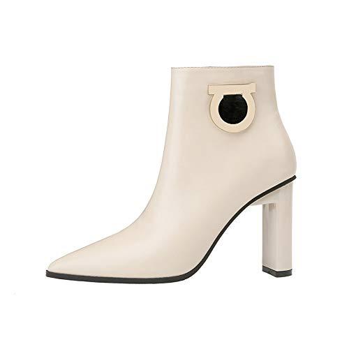 AGECC Kurze Stiefel Weibliche Spitze Metallknöpfe High Heels Martin Stiefel Und Nackte Stiefel.
