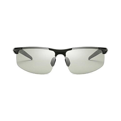 Y para Polarizados De Color Vidrios Color Hombre de De Hombres De Día Dual Noche para Metálico Gafas Polarizadas Marco Sol Uso Plata LBY Gafas La Negro Sol con Ixw8qtxB