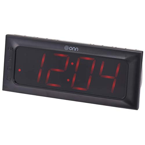 ONN AM/FM Digital Alarm Clock Radio Black Large 2 Inch By 6.4 Inch Wide LED Display (Renewed)