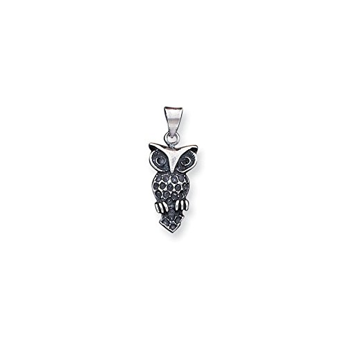(.925 Sterling Silver Antiqued Owl Charm Pendant)