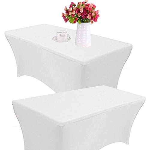 - Reliancer 2 Pack 4\6\8FT Rectangular Spandex Table Cover Four-Way Tight Fitted Stretch Tablecloth Table Cloth for Outdoor Party DJ Tradeshows Banquet Vendors Weddings Celebrations (2PC 8FT, White)