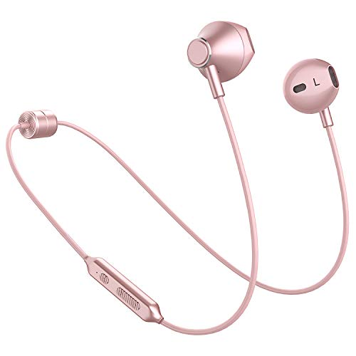 Picun Wireless Headphones 10 Hrs Playback Sport Bluetooth Headphones HiFi Stereo Sound in-Ear Anti-Fall Off Earbuds with Mic, IPX5 Waterproof Magnetic Earphones for Workout Gym Running (Rose Gold)