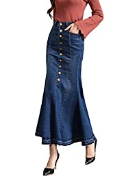 TOPJIN Plus Size Womens Mermaid Long Casual Denim Skirt High Waist Jeans Dress