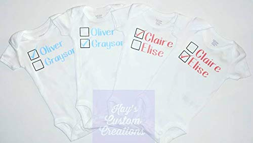 Twin or Triplet Personalized Baby Bodysuits Shortsleeve or Longsleeve Available
