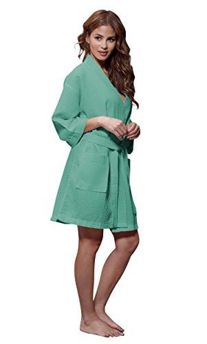Turquaz Linen Lightweight Knee Length Waffle Kimono Bridesmaids Spa Robe (XX-Large, Aqua)