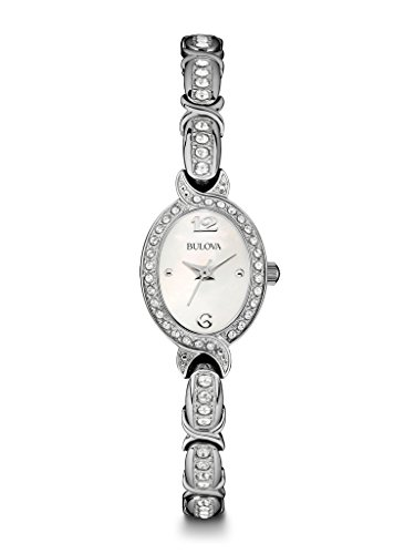 (Bulova Womens 96L199 Silver Tone Stainless Steel Mother of Pearl Bracelet Watch (Renewed))