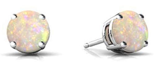 All Natural  Genuine Gemstone Sterling Silver October White Opal Round Birthstone Earrings
