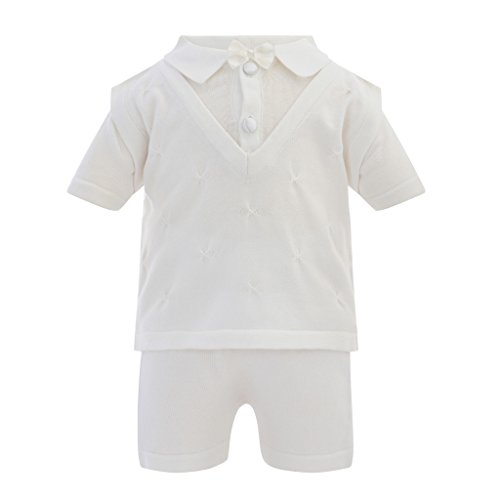 Boutique Collection Elegant Baby Boy Short Sleeve 2 Piece Christening Knit Vest Set, 9M (Newborn) White
