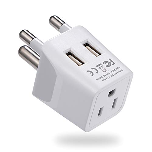 South Africa, Botswana Travel Adapter Plug by Ceptics With Dual USB