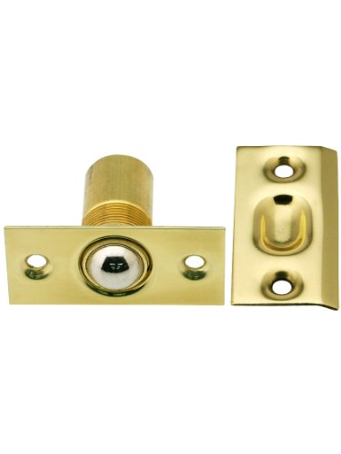 - Narrow Solid Brass Square Corner Ball Catch In Polished Brass. Mortise Lock Parts.