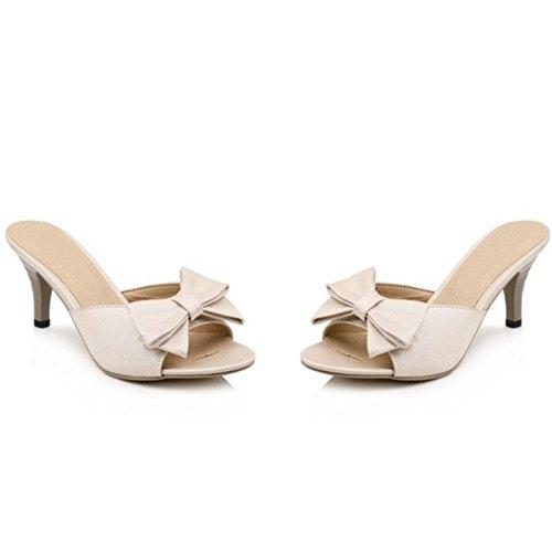 TAOFFEN Mujer Moda sin Cordones Zapatos Bowknot Talon Abierto Tacon Alto Sandalias 937 Beige