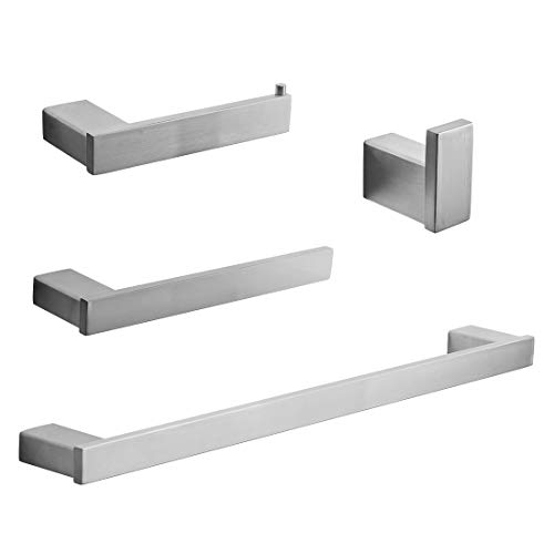 FLG Wall Mount Stainless Steel 4-Piece Bathroom Hardware Accessory Set Brushed Nickel (Toilet Paper Square Holder Set)
