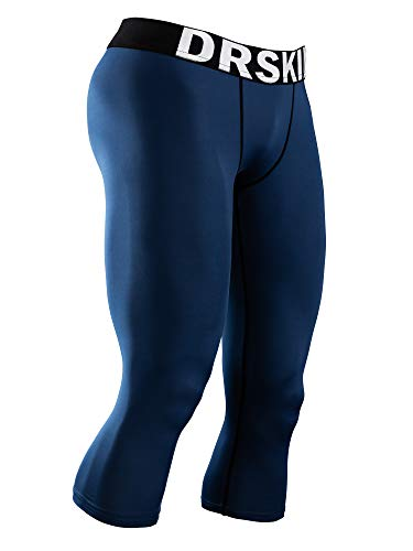 DRSKIN Men's 3/4 Compression Tight Pants Base Under Layer Running Shorts Warm Cool Dry (Line NA803, XL)
