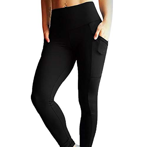 Price comparison product image Connia Hot Womens Yoga Pants Solid Casual Fitness Leggings Running Gym Sports Stretch High Waist Sports Trousers (XL,  Black)