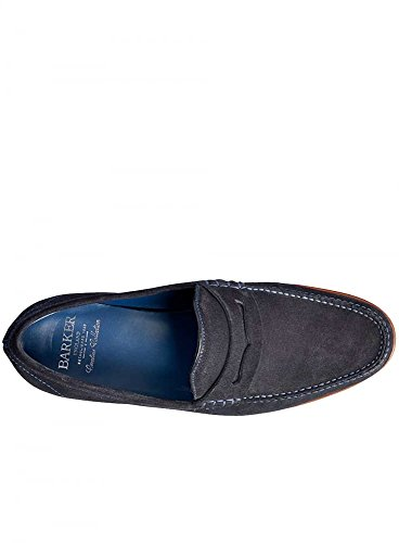 BARKER Herren William A lockstitch Moccasin Loafer Leathe Dark Navy Suede