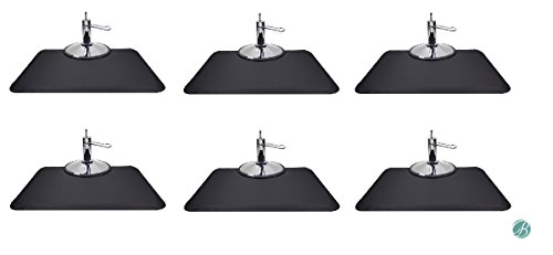 Berkeley Rectangle Salon Mat 3' x 4' (Set of 6) BLACK Anti-fatigue Mat for Salon or Barber Shop by BERKELEY