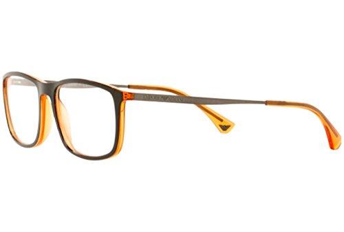 Emporio Armani Montures de lunettes 3070 Pour Homme Matte Black / Grey Transparent Black Orange